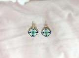 Emerald Vermeil 14K Gold Over Sterling Silver Enamelled Earring