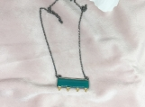 Green Onyx Oxidized Sterling Silver Necklace
