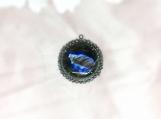 Labradorite & Diamond Oxidised Sterling Silver Pendant