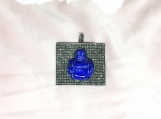 Lapis Lazuli & Diamond Oxidised Sterling Silver Buddha Pendant