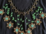 Mayan Style Beaded Turquoise & Gold Flowers Chocker (Indigenous)