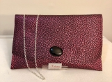 Metallic Fuchsia and Black Clutch Bag with Black Cabochon