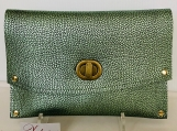 Metallic Light Green Clutch with Gold Accents