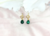 Moonstone & Malachite Vermeil 14K Gold Over Silver Earring