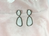 Moonstone Slice & Diamond Sterling Silver Earring