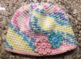 Multi-colored Pink, White, & Blue Baby Hat with Flowers