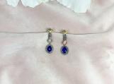 Opal & Diamond Oxidised Sterling Silver Earring