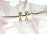 Pink Pearl, Moonstone & Emerald Vermeil Over Silver Earring