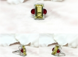 Quartz, Garnet Glass & Diamond Sterling Silver Ring