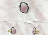 Sapphire Slice & Diamond Sterling Silver Ring