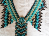 Turquoise & Brown Beaded Chocker, Mayan Style (Indigenous)