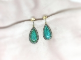 Turquoise & Diamond Sterling Silver Earring