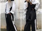 White Summer Set / Wide-Leg Trousers / Asymmetric Shirt PS0008