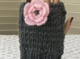 Womens Knitted Fingerless Gloves - Light Grey with Pink Floral