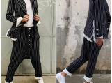 Women Striped Suit / Harem Pants and Relaxed Blazer PS0002