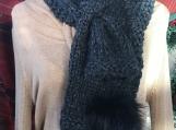 Women's Knitted Keyhole Scarf - Charcoal Grey with Black Pom Pom