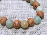 Amazonite and Coconut Palmwood Mala