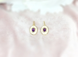 Amethyst Vermeil 14K Gold Over Sterling Silver Enamelled Earring