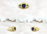 Blue Sapphire & Emerald Vermeil 14K Gold Over Silver Ring