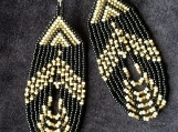 Beaded black and off white,gold earrings,Mayan Indigenous style.
