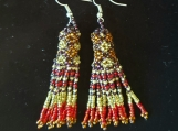 Beaded earrings, Mayan Indigenous style.