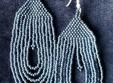 beaded dark greysh hand crafted earrings,mayan indigenous style.
