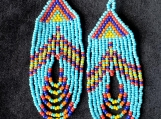 Beaded multicolor earrings, Mayan Indigenous style.