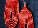 Beaded red ,blue,orangeearrings, Mayan Indigenous style.