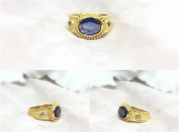Blue Sapphire & Emerald Vermeil Gold Over Sterling Silver Ring