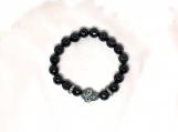 Diamond Silver Spacer, Skull & Onyx Beads Bracelet