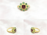 Emerald & Garnet Vermeil 14K Gold Over Sterling Silver Ring