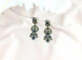 Emerald, Sapphire & Diamond Sterling Silver Earring