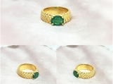 Emerald Vermeil 14K Gold Over Sterling Silver Ring
