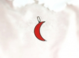 Enamelled & Oxidised Sterling Silver Crescent Moon Pendant