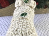 Extra Small Dog Button-dow Holiday Turtleneck Sweater  - Cream