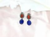 Lapis Lazuli, Carnelian & Diamond Oxidised Silver Earring