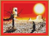 Penguins In The Desert Cross Stitch Pattern