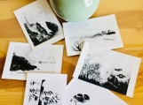 Six gifts Postcards,Original Black and White ART  CARDS