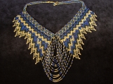 Beaded gold,blue necklaces Mayan Style (Indigenous Jewelry)