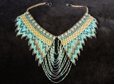Beaded turquoise gold necklaces Mayan Style (Indigenous Jewelry)