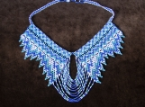 Mayan Style Beaded blue  and white necklace (Indigenous Jewelry)