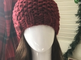 Womens Messy Bun Hat  - Red Ochre (Red)