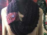 Womens Mobius Scarf Pull Through Loop and Fingerless Gloves Set