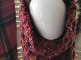 Women's Knitted Cowl/Head Scarf - Red Tweed