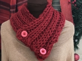 Knitted Collar/Cowl and Ear warmer Set-Tampa Spice (Red)