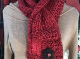 Women's Knitted Keyhole Scarf and Twisted Headband Set -Redwood