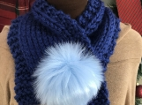 Women's Neck Warmer Faux Fur Pom-Pom Closure Cowl - Blue