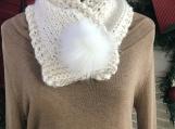 Women's Neck Warmer - Faux Fur Pom-Pom - Winter White