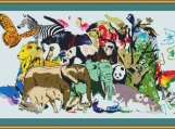 Animal Collage Cross Stitch Pattern