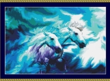 Blue Horses Cross Stitch Pattern
